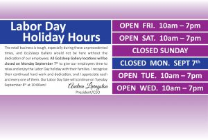 Go2sleep Labor Day Hours - Closed on Monday September 7th
